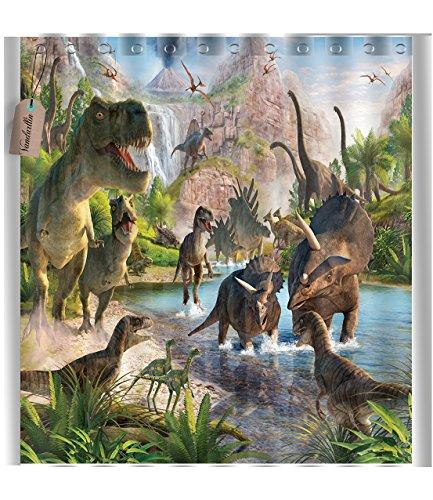 Dinosaurs Waterproof Fabric Polyester Bathroom Shower Curtain 66''(w) x 72''(h) by Vandarllin