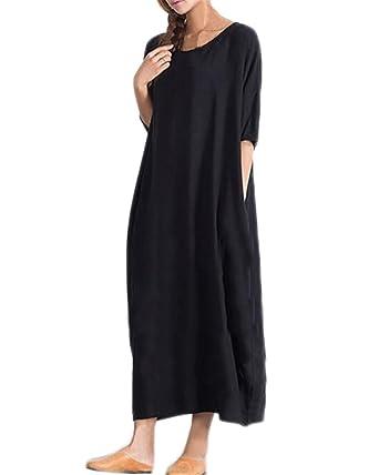 6d0dea9e8c Kidsform Women Autumn Cotton Solid Half Sleeve Casual Kaftan Long Maxi  Dresses Black Size S/