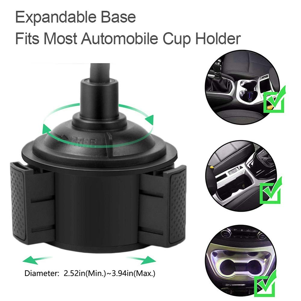 Pemsem Automobile Cup Holder Phone Mount - Universal Adjustable Gooseneck Expandable Base Cell Phone Cradle for iPhone Galaxy Pixel Nexus LG HTC GPS and Most Car SUV Truck