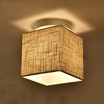 Moderno cubo lino paño cortina lámpara de techo blanco metal ...