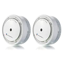 Smoke Alarm Mini UL Listed Modern Compact Size 10 Years Battery Operated Photoelectric Smoke Alarm Easy to Install Mini Fire Alarm | 2-Pack