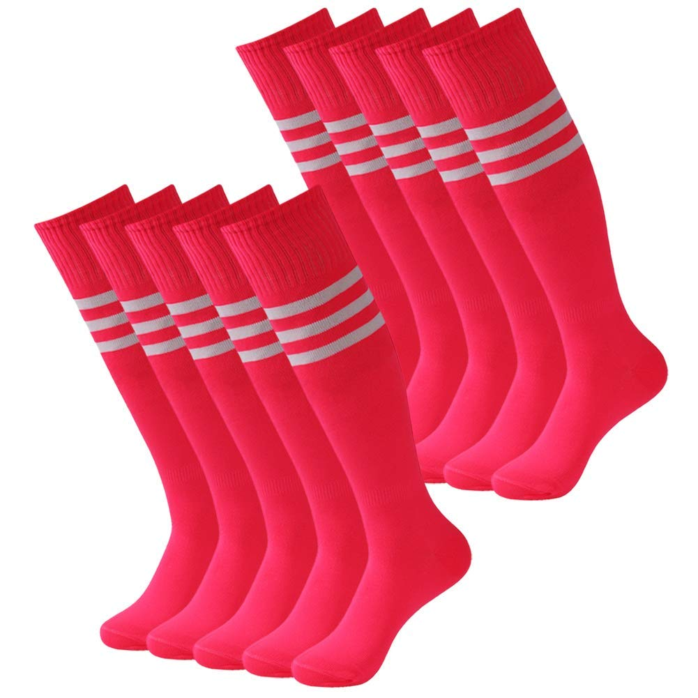 Over the Calf Soccer Socks for Women, Thick Stretchy Women Football Socks Pink, Mifidy Unisex Knee High Rubgy Baseball Running Socks 10 Pairs Rose by Mifidy