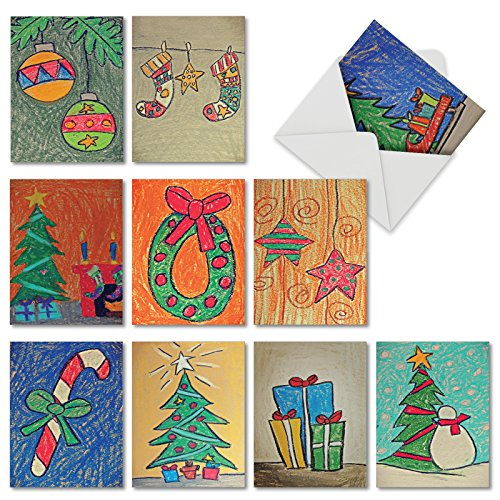 10 Assorted 'Christmas Coloring' Holiday Greeting Cards with Envelopes 4 x 5.12 inch, Blank Note Cards Featuring Festive Hand-Drawn Christmas Trees, Ornaments and Presents M6739XSB (Canada Ornaments Clear)