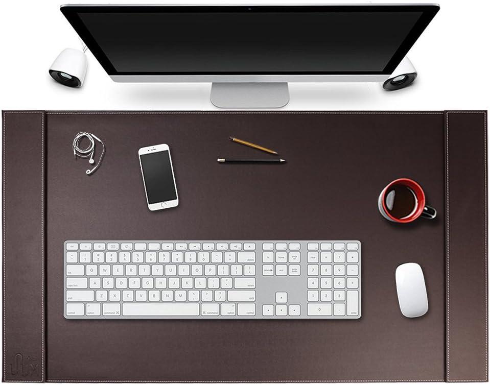 SumacLife Executive Modern Large Matte Coffee Brown PU Leather Laptop Mat/Desk Pad 34