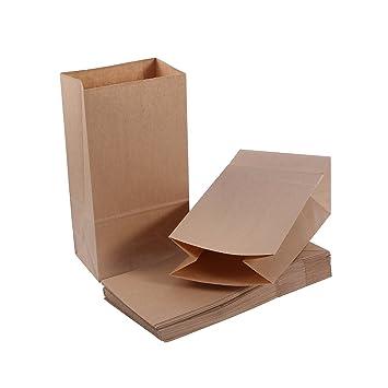 NUOLUX 32 pequeñas bolsas de papel kraft con suelo alimento favor de partido 70g con 2 etiquetas engomadas de lacre de la hoja