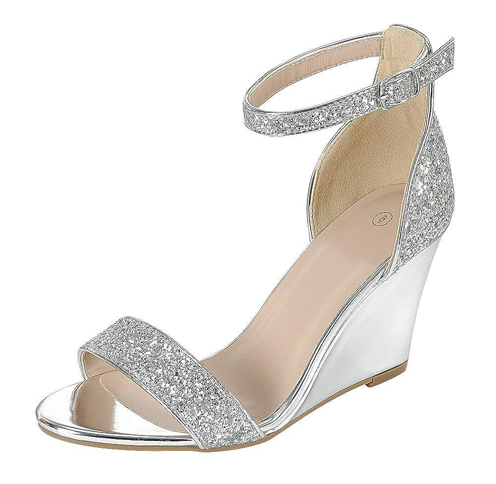 Women's Silver Glitter Open Toe Strappy Ankle Buckle Band Dress Wedge Sandal