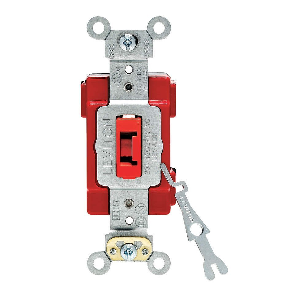 Leviton M1221 RL Lev Lok Modular Extra Heavy Duty Specification Grade Single Pole Toggle Switch 20A Red