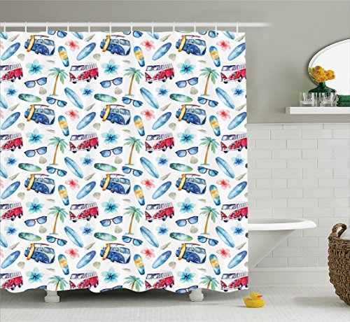 Surf Decor Shower Curtain by Ambesonne, Ocean Sunglasses Van Surfing Board Palm Trees Tropical Flower Summer Seaside Theme, Fabric Bathroom Set with Hooks, 69W X 70L Inches Long, Sky Blue - Personalized Plastic Sunglasses