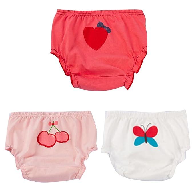 deb059f347 JEELINBORE Mutandine per Bambino Ragazze Ruffle Panties Carino Bloomers  Intimo Culotte Slip, 3 Pezzi