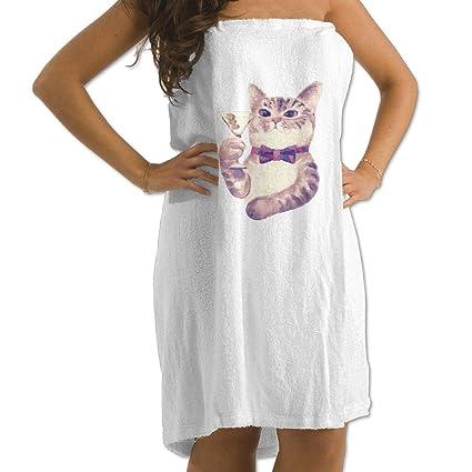 0ba6d1620a Amazon.com  Cat Eating Pizza Prints Bath Towel Wrap Womens Spa ...