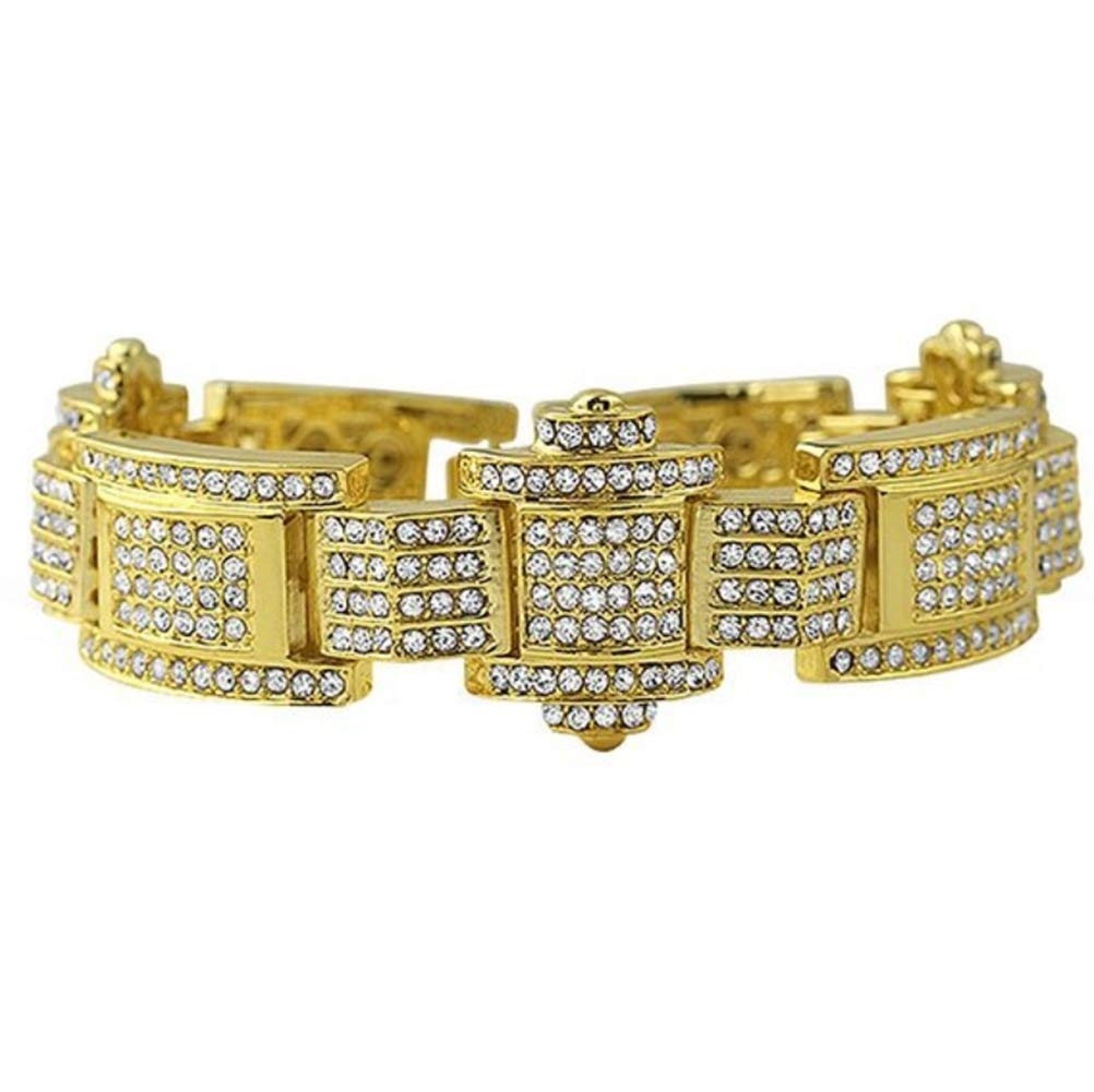 L&H Hip Hop Men's Bracelet Simulated Diamond Bracelet 3D Micro Pave 3cm Width 23cm Length Diamond Style