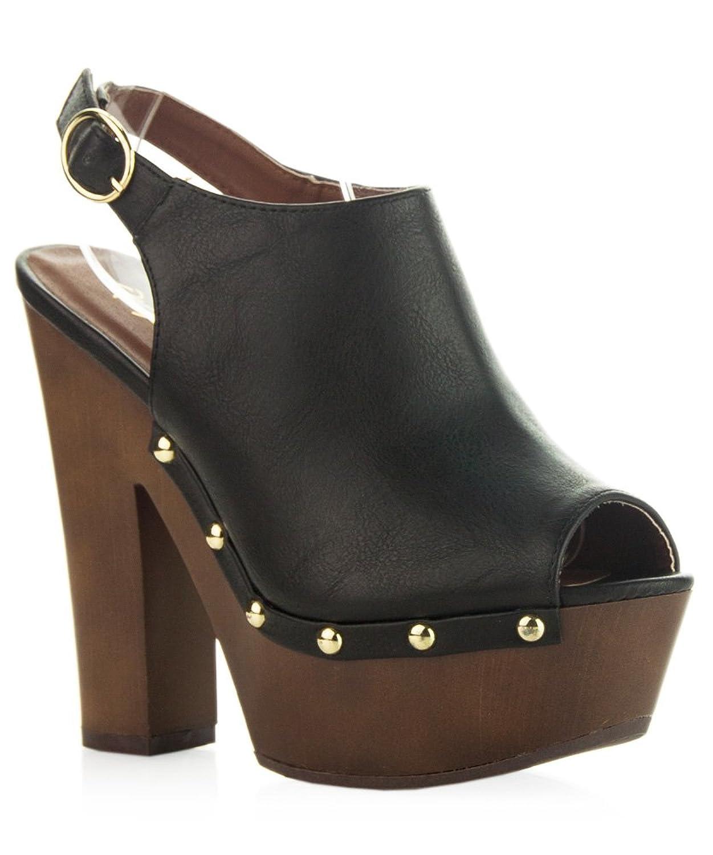 ROF Women's Sling Back Side Stud Decor Peep Toe Chunky Platform Clog Heel