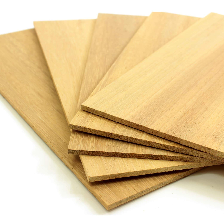 5er Set S/ägefurnier Bastelholz Platten Echtholz Holzfurnier zum Basteln Holzplatte Bastelset Modellbau DIY wodewa Holz Furnier Set 4mm Starkfurnier Teak 30x14cm