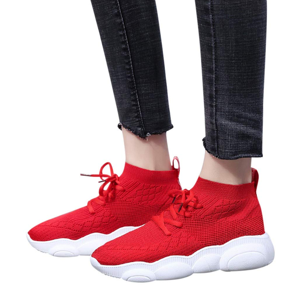 Chaussures Femmes,Sonnena Bottes Femme Mode Baskets Chaussures de Sport Course Tissu Extensible Cheville Bout Rond Sneakers Fitness Gym athlétique Multisports Outdoor Casual