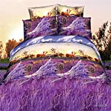 wiwanshop 4pcs Suit Polyester Fiber 3D Lavender Reactive Dyeing Bedding Sets Queen Size