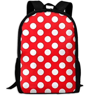 SZYYMM Red Polkadot Oxford Cloth Casual Unique Backpack, Adjustable Shoulder Strap Storage Bag,Travel/Outdoor Sports/Camping/School For Women And Men