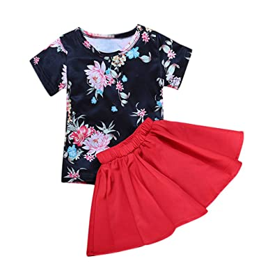 98293fe67aa Amazon.com  Floral Sundress for 2~6 Year Old Baby Girl Dress Short ...