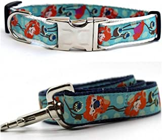 "product image for Diva-Dog 'California Poppy' Custom Medium & Large Dog 1"" Wide Dog Collar with Plain or Engraved Buckle, Matching Leash Available - M/L, XL"