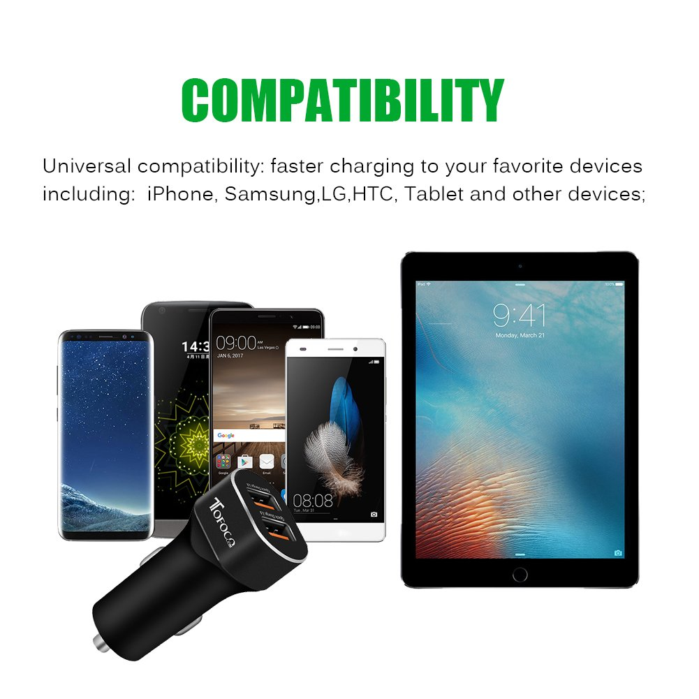 Quick Charge 3.0 Dual USB Car Charger, 36W Phone Power Adpater PowerDrive High Speed for Samsung Galaxy S8/S7/S6/S6 Edge, iPhone, iPad, LG , Nexus, HTC, Sony and more