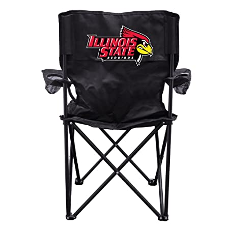VictoryStore Outdoor Camping Chair – Illinois State University with Red Bird Head Black Folding Camping Chair with Carry B