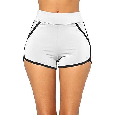 b49ee8a3ca844 Dihope Femme Été Short de Sport Élastique Court de Plage Hot Pants Casual  Bords Colorés Vacances Yoga Fitness  Amazon.fr  Vêtements et accessoires