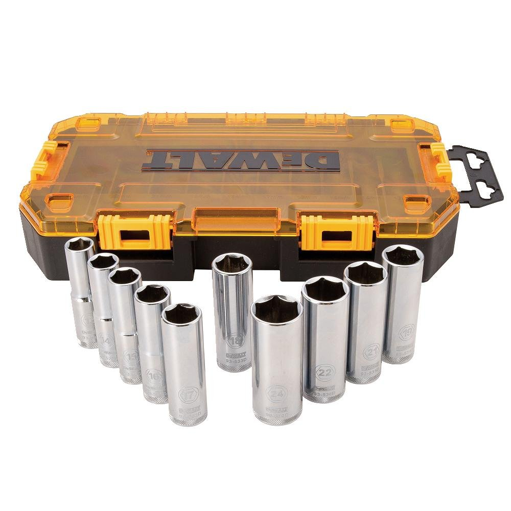 DEWALT DWMT73815 Metric Drive Deep Socket Set (10 Piece), 1/2""
