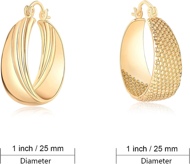 Herayli Lot de 2 paires de boucles doreilles cr/éoles plaqu/ées or pour femme /Épaisseur 25 mm