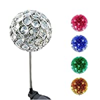 MF-CONLINE LED Color Changing Light,Outdoor Hanging Decorative Sparkling Crystals Gazing Ball with Solar Powered