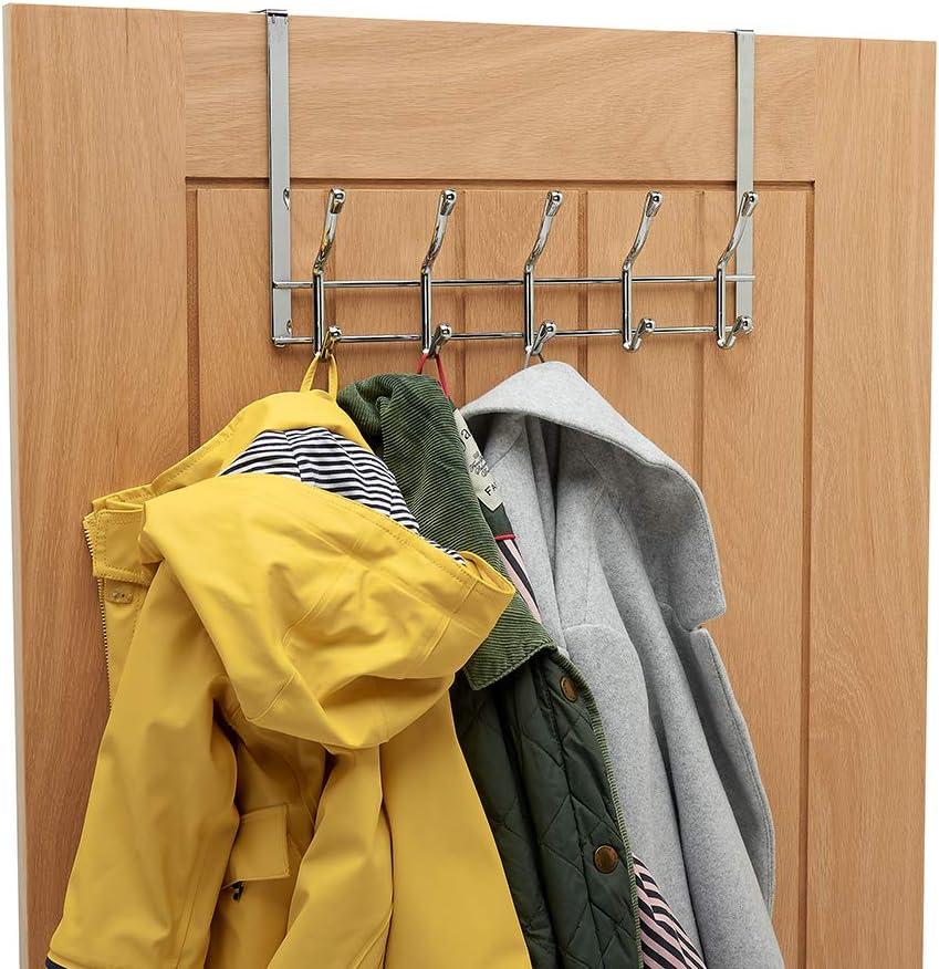 Over Door Coat Rack simplywire Chrome 10 Hooks