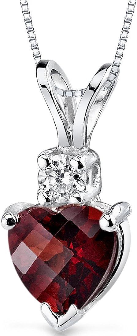 14 Karat White Gold Heart Shape 1.50 Carats Garnet Diamond...