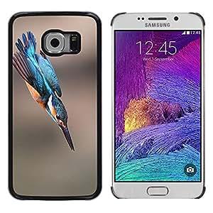 Vuelo del pájaro azul borroso Naturaleza Verano- Metal de aluminio y de plástico duro Caja del teléfono - Negro - Samsung Galaxy S6 EDGE (NOT S6)