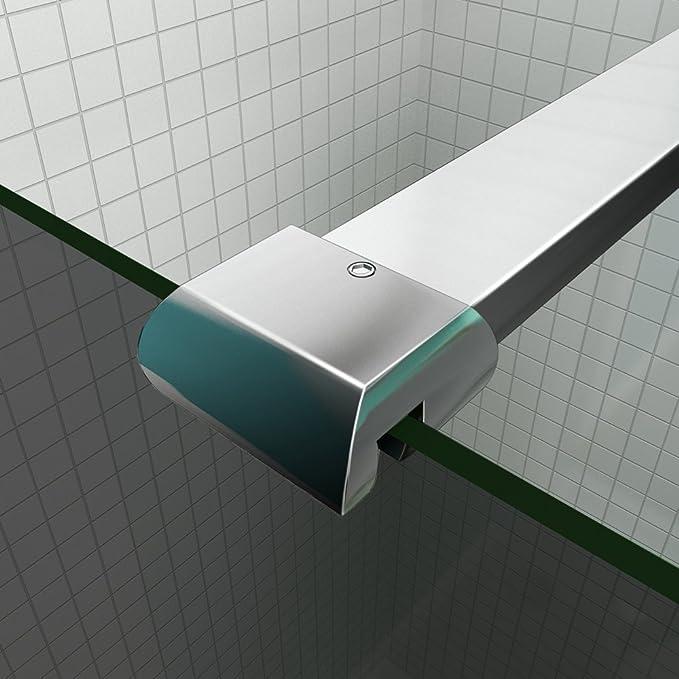 Mampara de ducha 120 y 140 cm de cristal ahumado con barra Fijación: Amazon.es: Bricolaje y herramientas