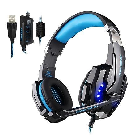 KOTION EACH G9000 USB 7.1 Surround Sound Versions Gaming Headset Spiel Kopfhörer mit Mikrofon LED Licht für PC (Schwarz + Bla