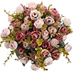 Duovlo-7-Branch-21-Heads-Artificial-Flowers-Bouquet-Mini-Rose-Wedding-Home-Office-DecorPack-of-4