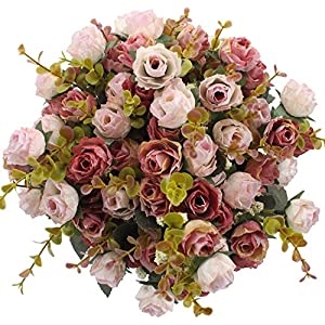 Duovlo 7 Branch 21 Heads Artificial Flowers Bouquet Mini Rose Wedding Home Office Decor,Pack of 4 (Pink) 15