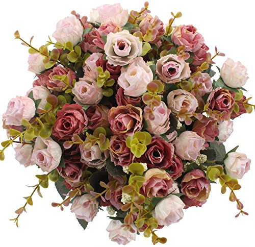 (Duovlo 7 Branch 21 Heads Artificial Flowers Bouquet Mini Rose Wedding Home Office Decor,Pack of 4 (Pink))