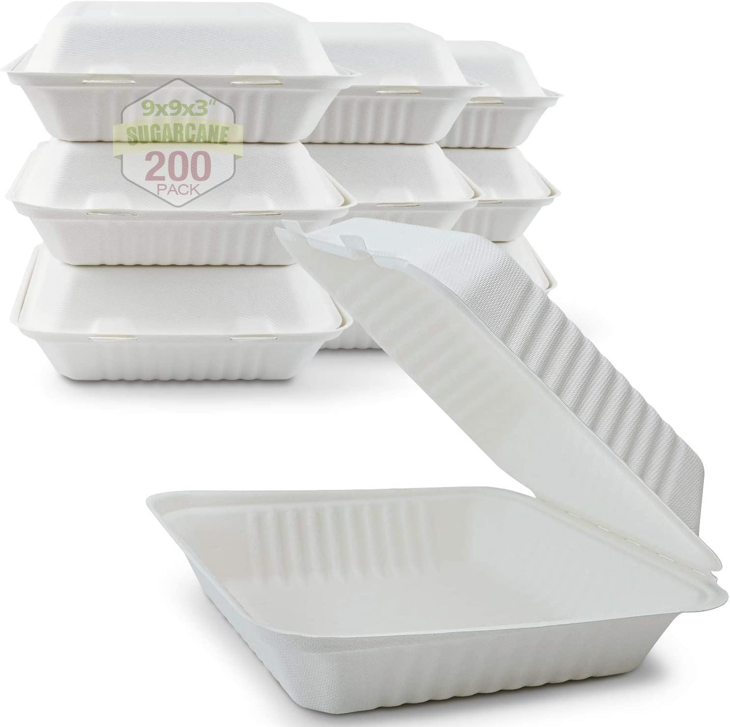 Green Earth 9-Inch, 200-Count, 1-Compartment, Compostable Clamshell, Natural Bagasse (Sugarcane Fiber), Take-Out/to-Go Food Boxes - Biodegradable Containers, Hinged Lid - Microwave-Safe - Gluten-Free