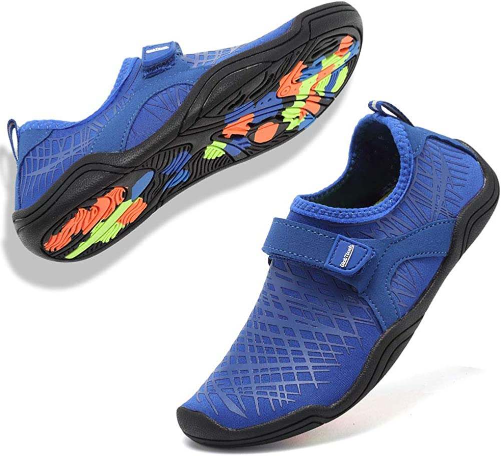 GLOBTOUCH Boy and Girls Athletic Water Shoes Quick-Dry Slip on Aqua Sock for Beach Pool Swim Surf Walking Toddler//Little Kid//Big Kid