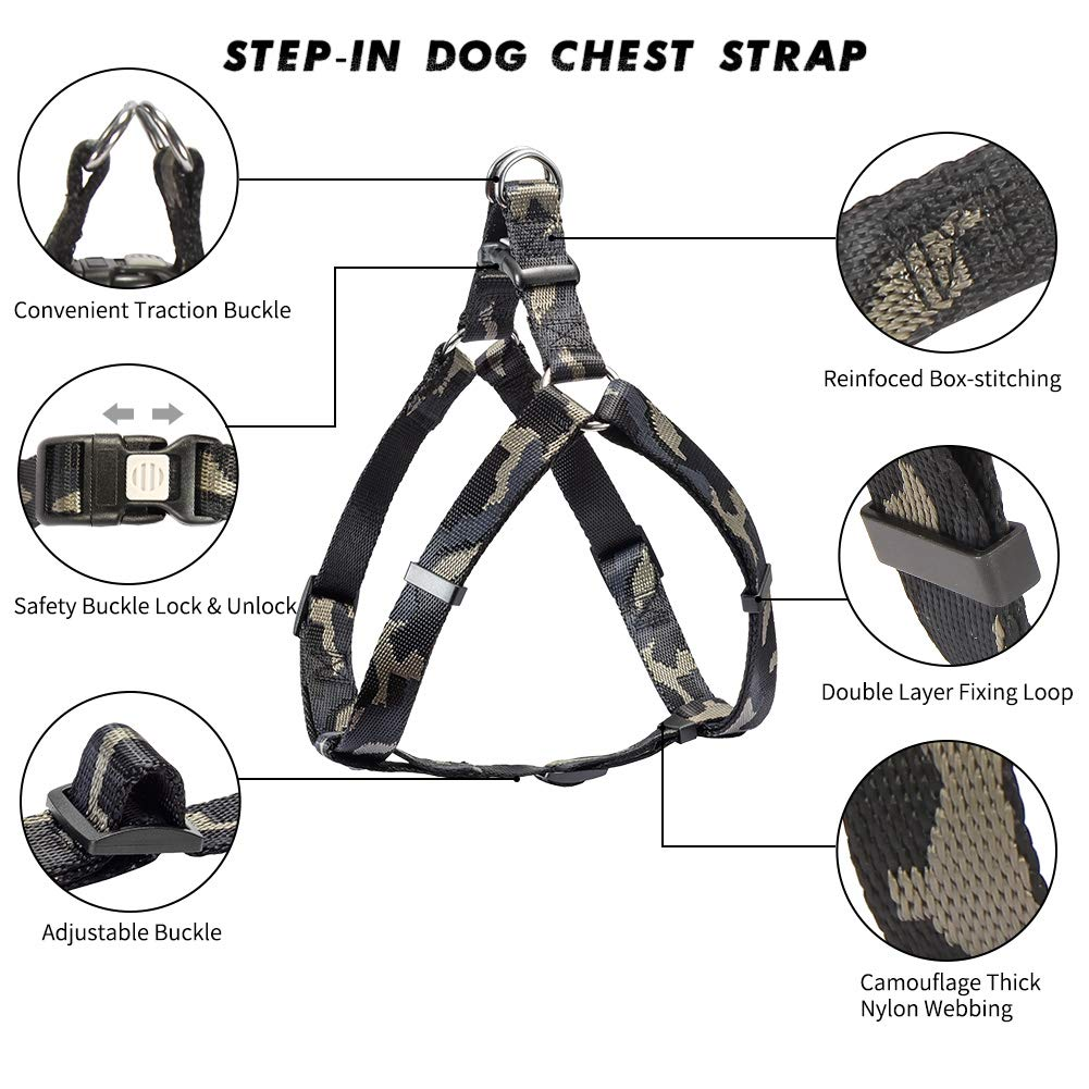 vAv YAKEDA Dog Leash Harness Set Step-in Dog Chest Strap Adjustable Durable Anti-Twist for Small Medium Large Dog Walking Training Running (S (16.9\