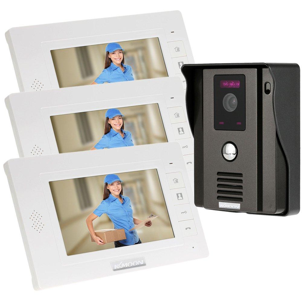 KKmoon 7' Timbre Video Portero Intercomunicador (Cá mara de Vigilancia, Desbloqueo Remoto, 3 Monitor Pantalla TFT LCD, 3 IR LED Visió n Nocturna) 3 IR LED Visión Nocturna)