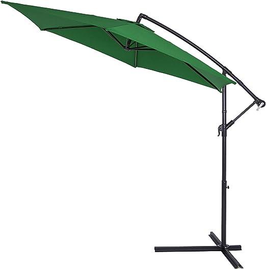 Deuba Sombrilla de Aluminio de Ø330cm Verde protección Solar UV40+ con manivela Base en Cruz jardín terraza Patio balcón: Amazon.es: Jardín