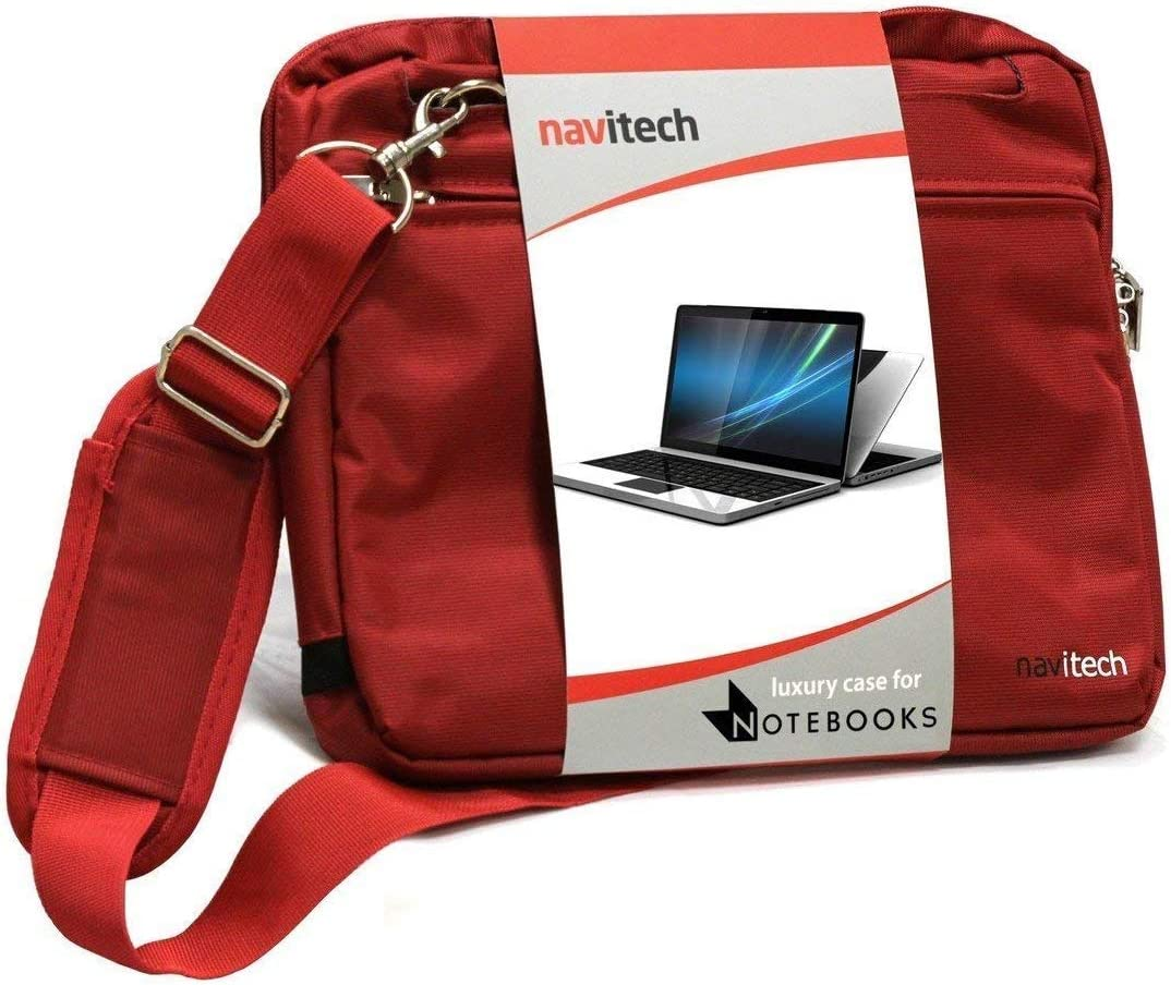 Navitech Red Premium Messenger/Carry Bag Compatible with The Acer TravelMateSpin B1