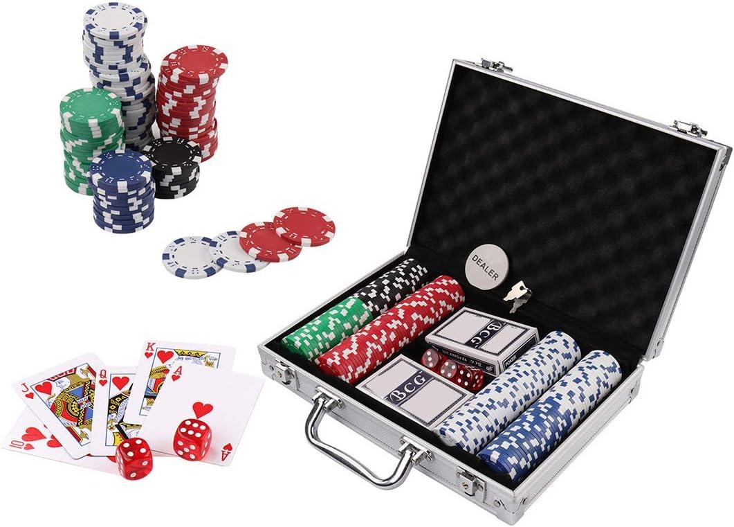 Amazon Com Doublefan Poker Chips Set 200ct 11 5 Gram Clay Poker Chips Set Texas Holdem Blackjack Gambling Chips Aluminum Case 200pcs Toys Games
