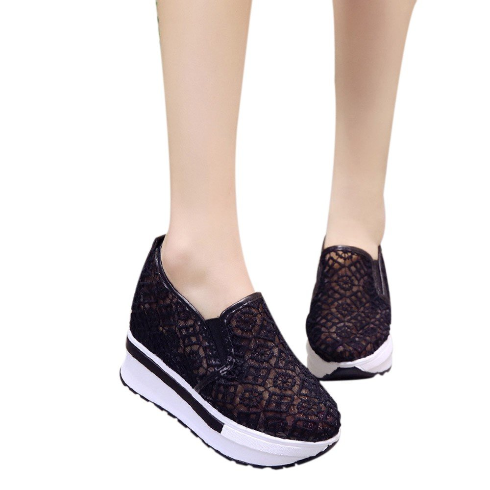Shoes For Womens -Clearance Sale ,Farjing Increased Net Shoe Women Casual Shoes Breathable Mesh Slope Thick Platform Shoes(US:6.5,Black )