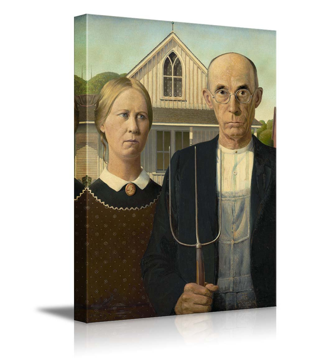 American Gothic by Grant Wood Giclee Canvas Prints Wrapped Gallery Wall Art | Stretched and Framed Ready to Hang - 24'' x 36''