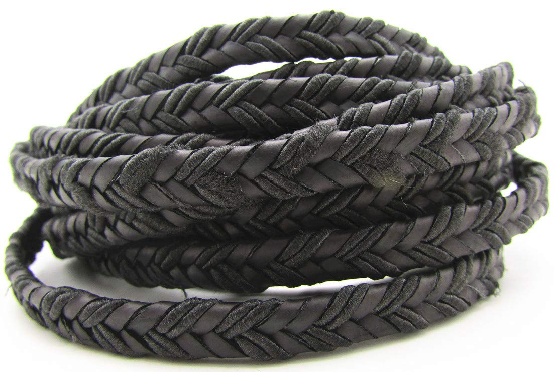 Brown, 2 Meters 8.0x3.0mm Flat Folded Bolo Braided Leather Cords for Bracelet Jewelry Making