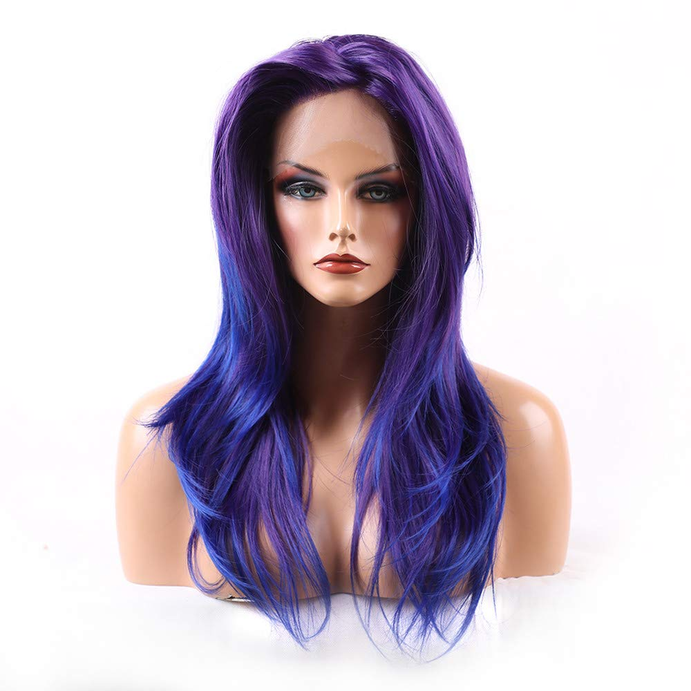 Cyswi Gradient Wigs Women Purple Blue Synthetic Curly Long Cosplay Wig Elegant Natural Wave Hair Extension Heat Resistant Brazilian Hairpieces Fashion Front Hair Haircut for On Sale 24 inch by Cyswi (Image #3)