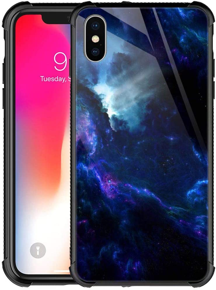 CARLOCA iPhone XR Case, Dark Blue Space Nebula Light,iPhone XR Case for Men Boys,Duty Shockproof Protective Cover for Apple iPhone XR