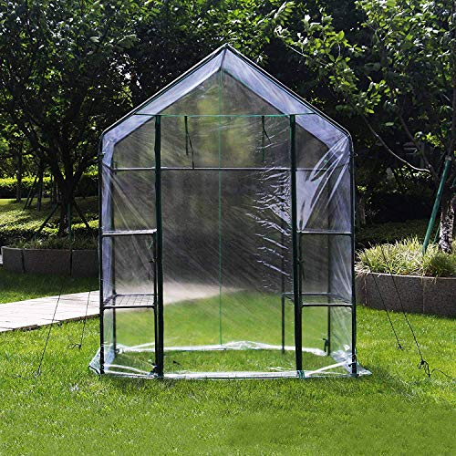 4HOMART Green House 56″ W x 56″ D x 77″ H, Walk-in Greenhouse with PE Cover,Strong Metal Frame,3 Tiers 6 Shelves with Roll-Up Zipper Door Plant Garden Outdoor Green House