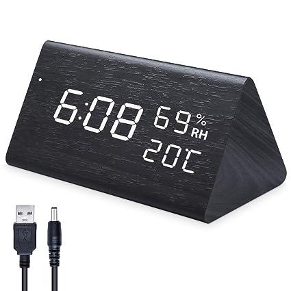 Ninonly Reloj Digital LED Reloj de Alarma de Madera, Comando con 3 Niveles con Marcador Que Brilla, con 3 Botones para Ajustar el Despertador, Hora ...